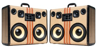 Striped BoomCase Hartmann vintage BoomBox Portable Speaker Tweed Stripes Yellow Bluetooth Wooden