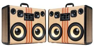 Striped BoomCase Hartmann vintage BoomBox Portable Speaker Tweed Stripes Yellow Bluetooth Wooden