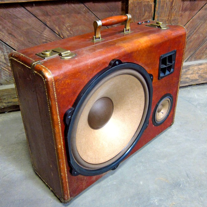 "Wooden BoomBox Leather 15"" Woofer Speaker System California Bluetooth Portable Speaker BoomCase BoomBox"