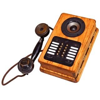 antique phone vintage wooden wood box boomcase boombox oak speaker robot
