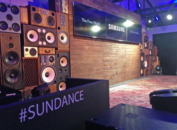 Speaker Wall of Sound Speakers Vintage Stack Installation Samsung Stage Sundance Film Festival 2016 BoomCase BoomBox