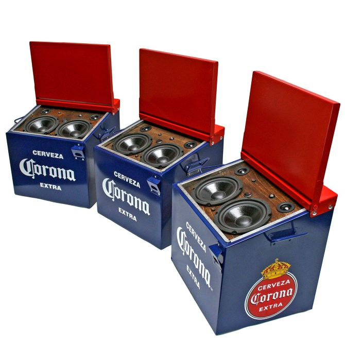 Corona BoomCase BoomBox Ice Chest Cooler Cerveza Mexico Beer Red Blue