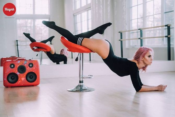 Girl Dance Studio Bikini Tight Red BoomCase BoomBox Sacramento