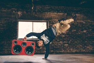 BBoy Vincanity Vince Break Dancer Breaking San Francisco BoomCase Red BoomBox Sunset Walk