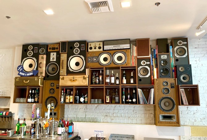 Speaker Wall of Sound by BoomCase in Solomons Deli behind Bar
