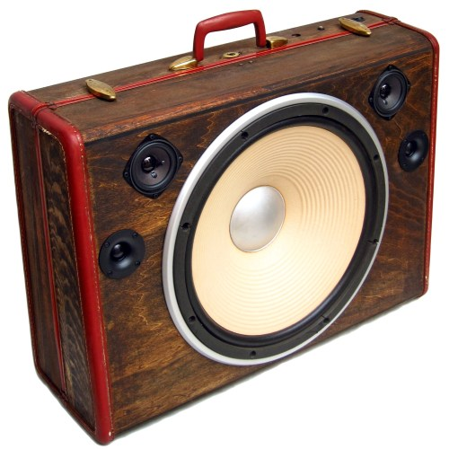 "Cyclops BoomCase 15"" Woofer Speaker BoomBox Vintage Wooden Suitcase"