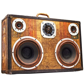 Solid State Vintage Trunk BoomCase stickers speakers