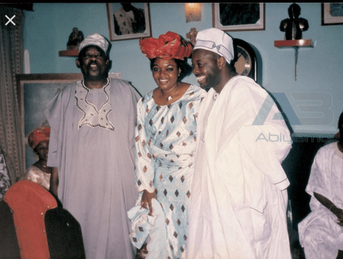 Chief MKO Abiola with Dele Momodu & wife, Mobolaji during their traditional wedding in Ijebu
