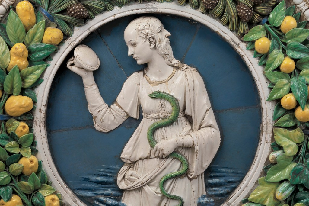 Prudence Andrea della Robbia (Italian (Florentine), 1435–1525) Ca. 1475 Glazed terracotta *Lent by the Metropolitan Museum of Art, Purchase, Joseph Pulitzer Bequest, 1921 (21.116) *Courtesy, Museum of Fine Arts, Boston