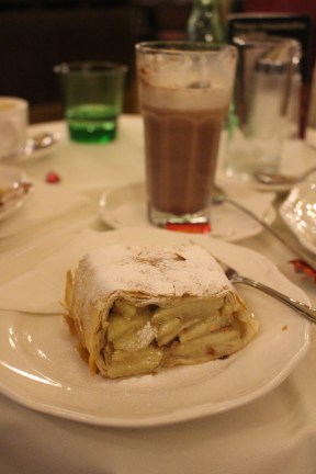 Apfelstrudel with a hot chocolate from Cafe Central hit the spot.