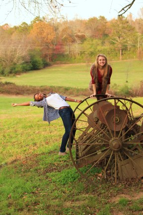 Getting a little weird with old farming equipment at Yonah Mountain Winery