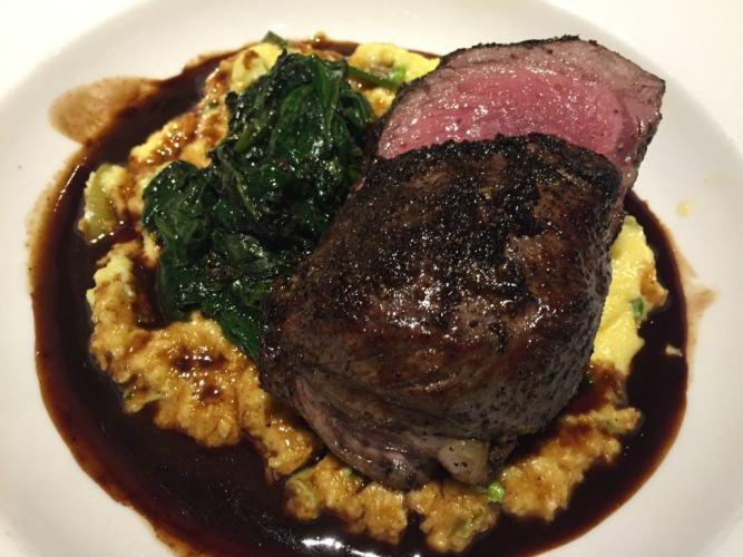 rare steak on mash with spinach bowral hotel