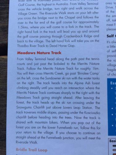 brochure meadows nature track walk mount kosciuszko