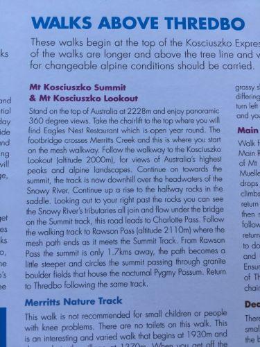 brochure thredbo mount kosciuszko walks