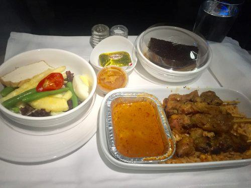 lunch on malaysia airlines in business class