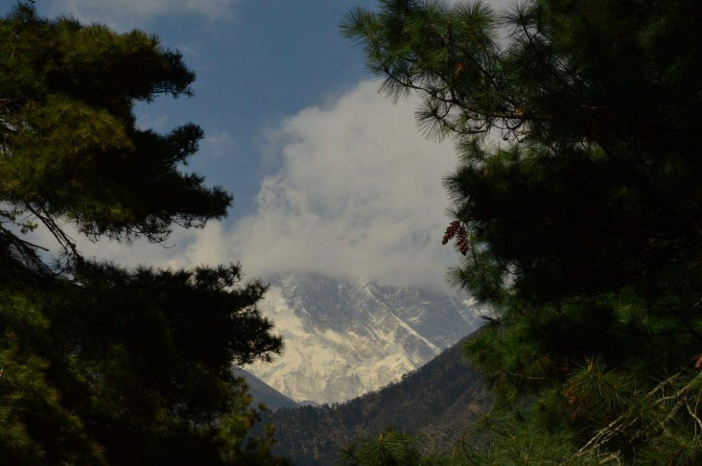 the tip of Mount everest seen behind some clouds framed by trees