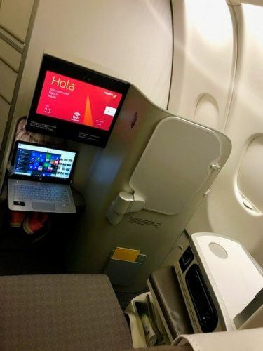 business class seat and entertainment screen iberia airlines