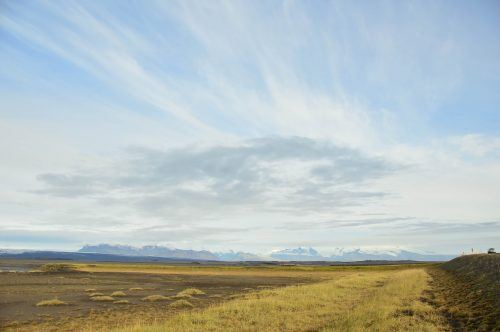 big sky over the road in iceland