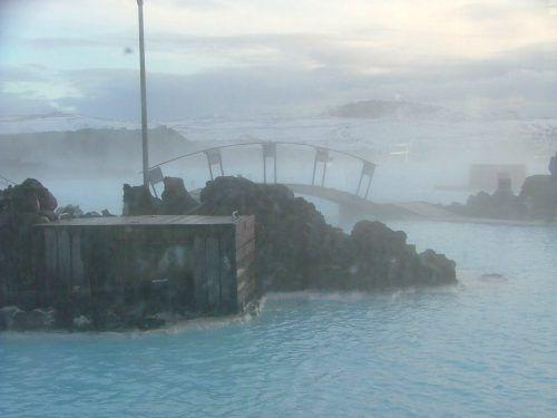 bridge and rocks at the blue lagoon