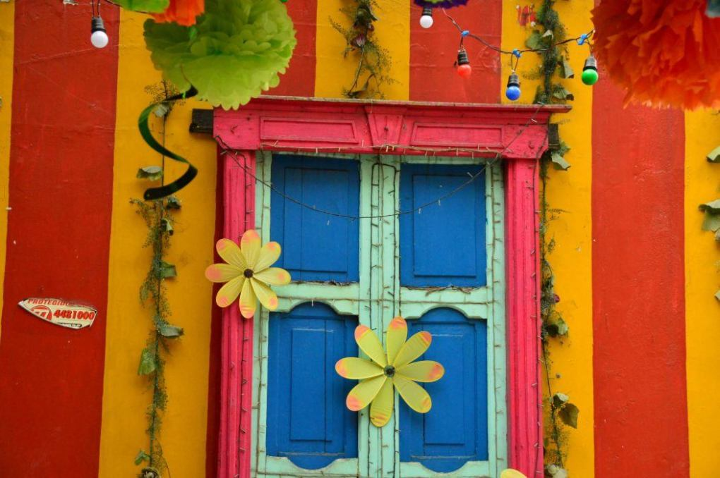 colourful door and building in medellin