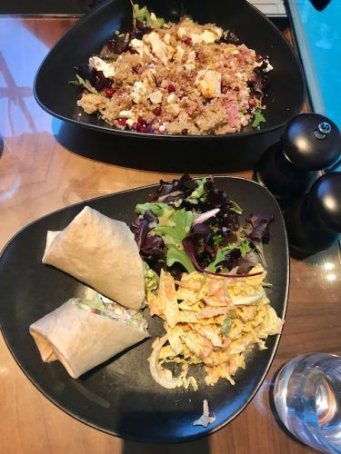 wraps and salad at ockenden