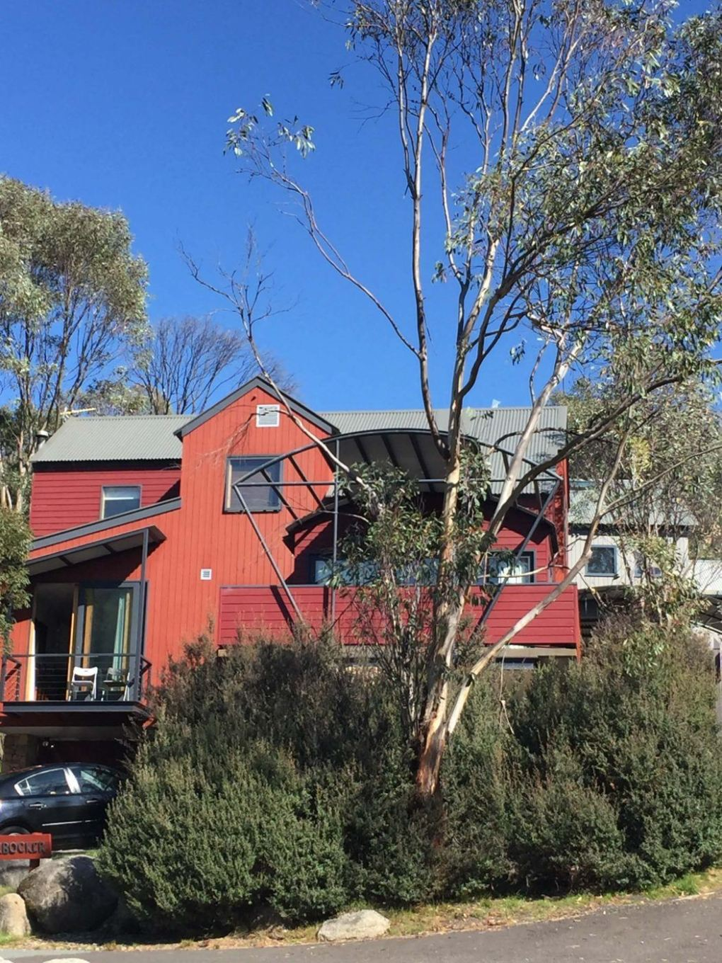 Red chalet in Thredbo Village
