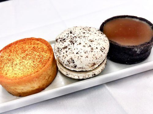 three mini desserts on the air france a380 between johannesburg and paris