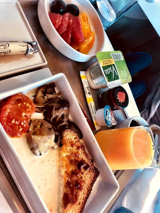 Breakfast offering on the Air France a 380 between Johannesburg and Paris
