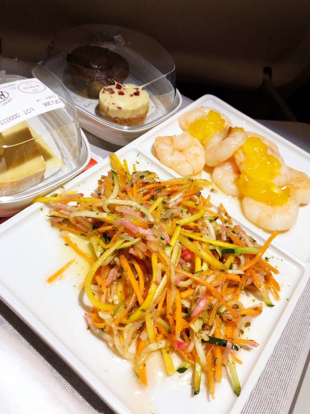 noodles and prawns meal on Air France between London and Paris