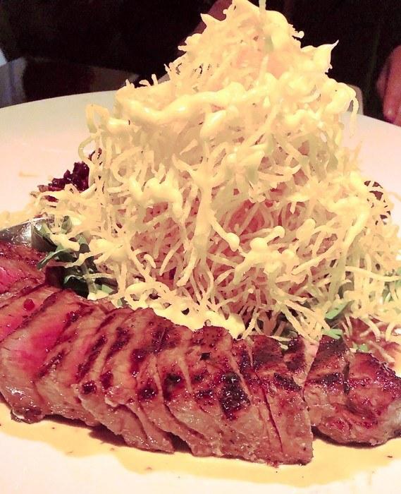 rare beef with salad at buddakan philadelphia
