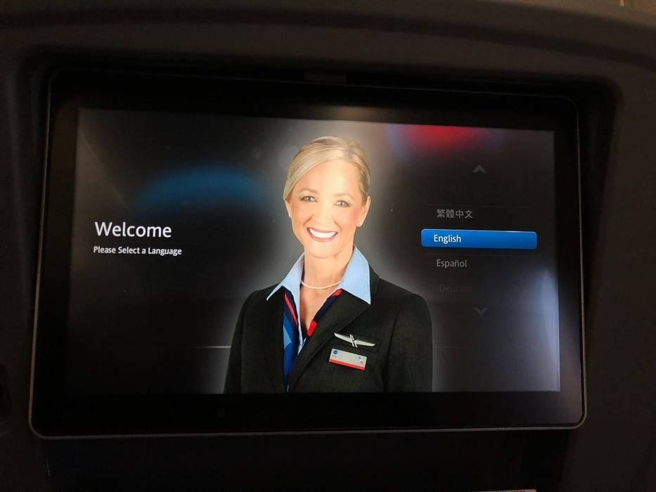 american-airlines-screen with woman on it