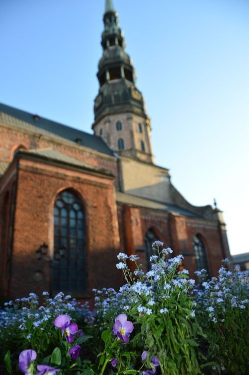 St Peter's Church Riga Latvia from the flowers