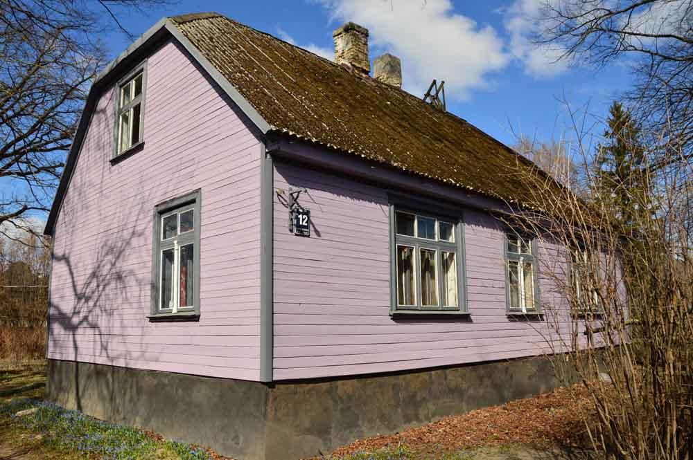 Lilac wooden house in Kipsala