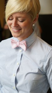 "Torey rocking the ""She Likes it, I Love It,"" bow tie from our collection"