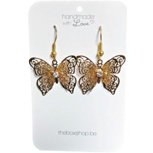 The Box goudkleurige vlinder oorbellen met strass