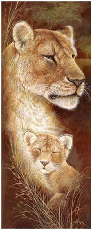Diamond painting leeuwin met leeuwen welp