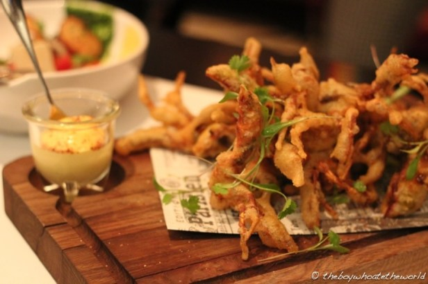 Soft shell crab with saffron aioli