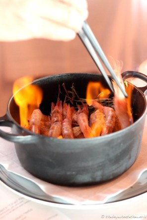 Prawns in Orujo flame