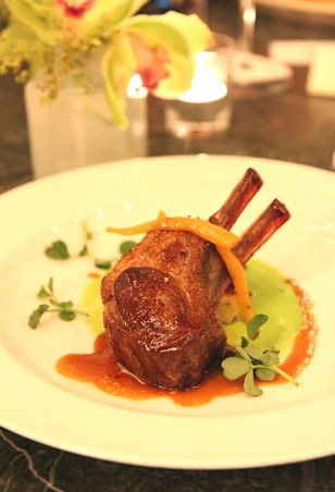 Rack of Lamb, Pea puree & Dauphinoise potatoes