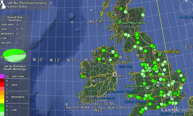 Figure 1: Locations of AURN sites in the UK plotted on Google Earth. Pollution levels correspond to measurements taken on Friday 7th July 2013; data courtesy of Defra (http://uk-air.defra.gov.uk/).