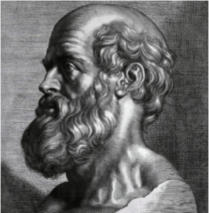 Hippocrates. Engraving by Peter Paul Rubens - Courtesy of the National Library of Medicine. Licensed under Public Domain via Wikimedia Commons
