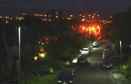Figure 5 - LED and sodium streetlights outside my house. LEDs produce light that is harder to block using conventional filters, Sodium lights (seen here as orange) shine lots of light into the sky contributing to sky glow. (Image is my own)