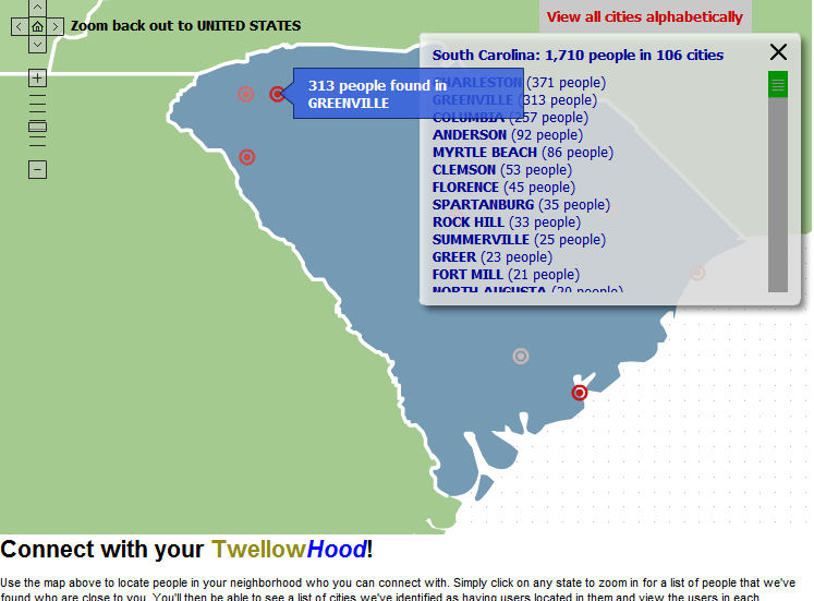Twellowhood - Zoomed-in on South Carolina