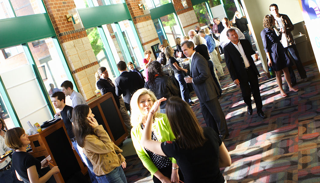 Attendees arriving at the Peace Center