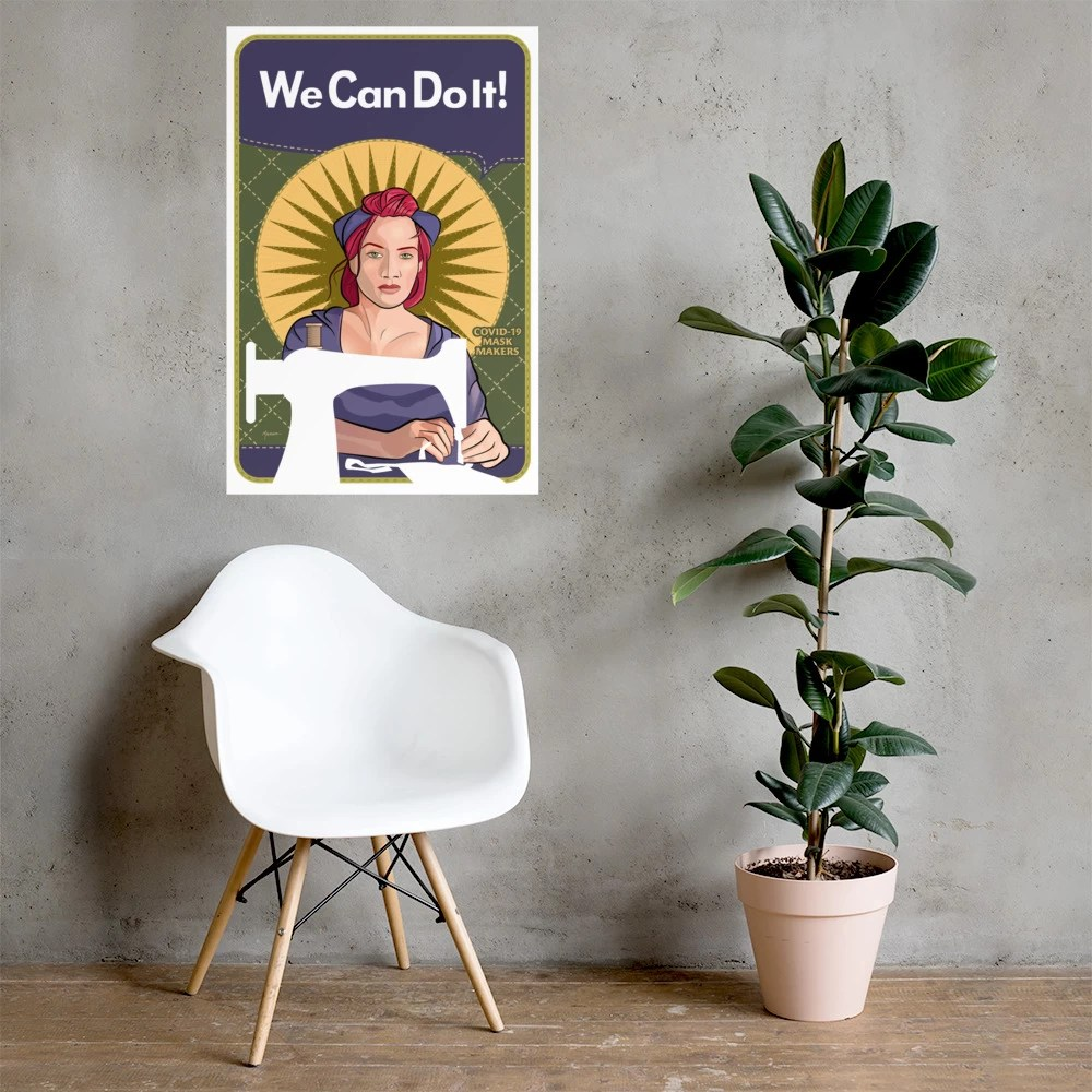 "We Can Do It! Mindy the Mask Maker 24""x36"" photo paper poster"