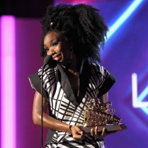 LAS VEGAS, NV - NOVEMBER 06: Honoree Brandy accepts the Lady of Soul Award onstage during the 2016 Soul Train Music Awards at the Orleans Arena on November 6, 2016 in Las Vegas, Nevada. (Photo by Leon Bennett/BET/Getty Images for BET)