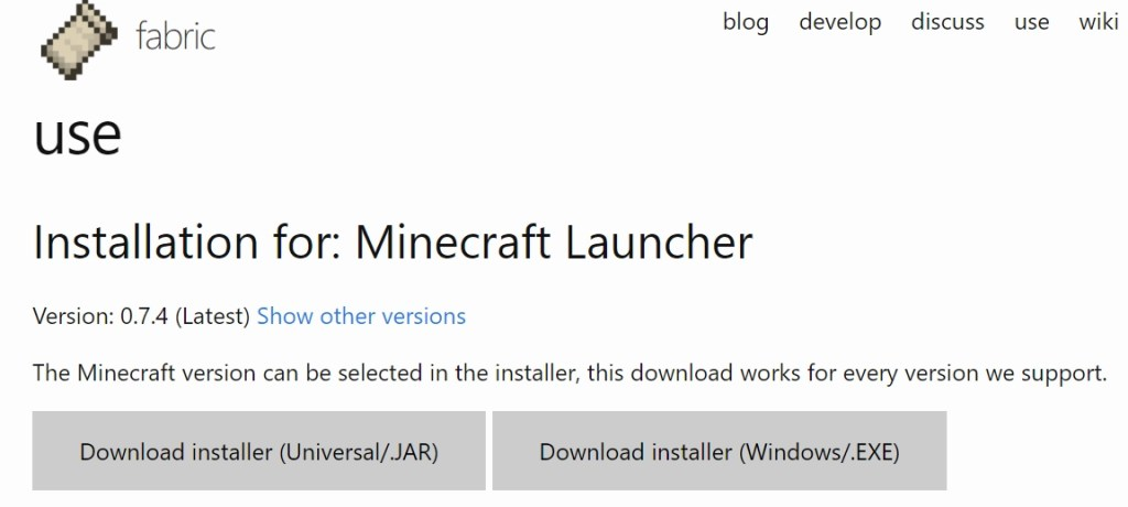 Fabric Mod Loader Download Page