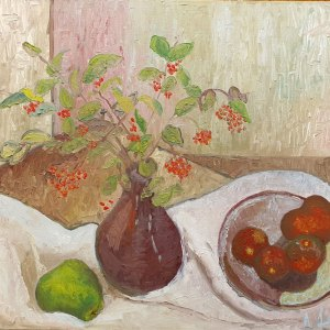 An oil painting of a still life scene comprising a muted purple vase holding an arrangement with red berries, a bowl containing red fruit.
