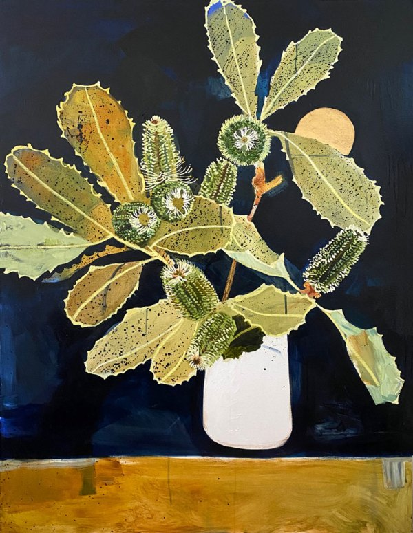 Oil painting of gold and soft light green banksias in a white vase against a dark blue background.