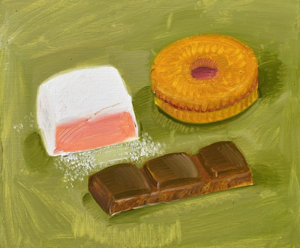 An oil painting of a Turkish delight, a cookie and a broken off piece of chocolate against a light yellowish-green backdrop.
